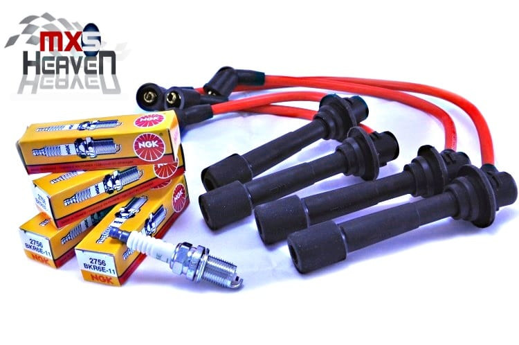 Mazda MX5 MK1 MK2 HT Leads Silicone Red NGK Spark Plugs