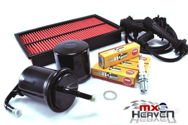 Mazda MX5 MK1 Service Kit Oil Air Fuel Filters NGK Spark Plugs Black HT Leads