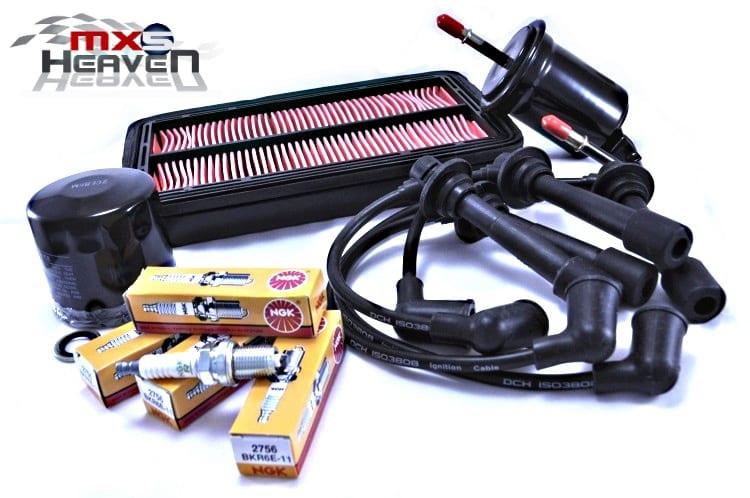 Mazda MX5 MK2 MK2.5 Service Kit Oil Air Fuel Filters NGK Spark Plugs Black HT Leads