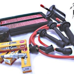 Mazda MX5 MK2 MK2.5 Service Kit Oil Air Fuel Filters NGK Spark Plugs Red HT Leads