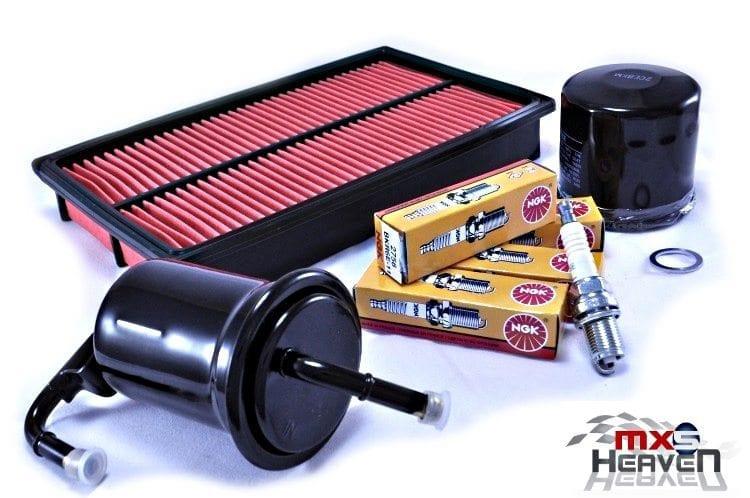 Mazda MX5 MK1 Service Kit Oil Air Fuel Filters NGK Spark Plugs
